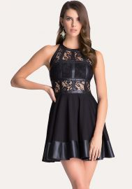 Fit and flare t-strap dress at Bebe
