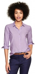 Fitted Boyfriend Dot Oxford Shirt at Gap