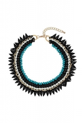 Five Row Turquoise Collar Necklace at Topshop
