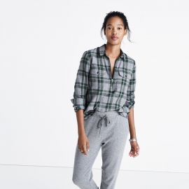 Flannel Zip-Front Popover Shirt in Washburn Plaid at Madewell