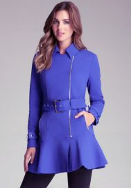 Flare Skirt Trench Jacket in Blue at Bebe