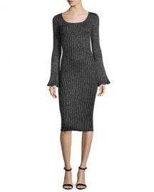 Flare-Sleeve Ribbed Metallic Sweater Dress at Bergdorf Goodman