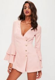 Flare sleeve playsuit at Missguided