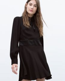 Flared dress with collar and bow at Zara