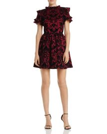 Flocked Ruffle-Sleeve Dress at Bloomingdales