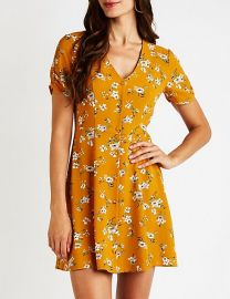 Floral Button Up Dress at Charlotte Russe