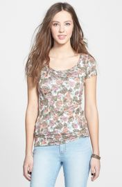 Floral Cap Sleeve Tee by Frenchi in egret hazy floral at Nordstrom