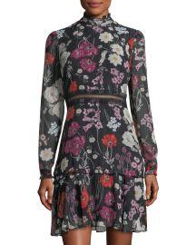 Floral Chiffon Mock-Neck Dress by Donna Morgan at Last Call
