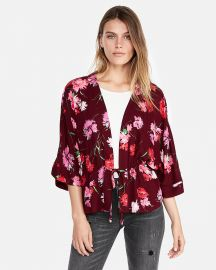 Floral Cinched Waist Kimono Sleeve Top at Express