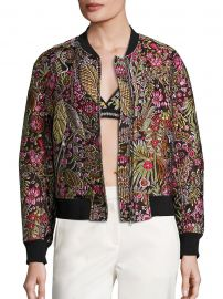 Floral Cloque Bomber Jacket at Saks Off Fifth