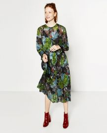 Floral Devore Dress x at Zara
