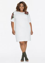 Floral Embroidered Applique Sweatshirt Dress by Ashley Stewart at Ashley Stewart