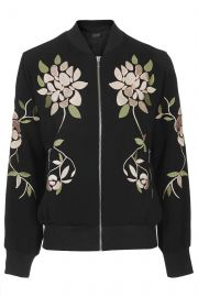Floral Embroidered Bomber Jacket at Topshop