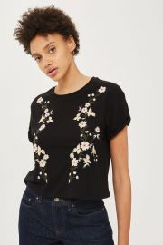 Floral Embroidery T-Shirt by Topshop at Topshop