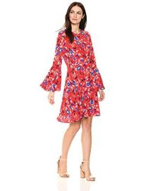 Floral Fit and Flare Dress with Bell Sleeve at Amazon