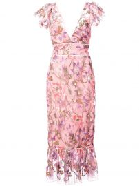 Floral Fitted Dress  Marchesa Notte  at Farfetch