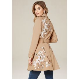 Floral Flared Trench at Bebe