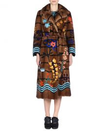 Floral Intarsia Mink Fur Coat at Bergdorf Goodman
