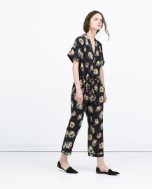 Floral Jumpsuit with Lapel Collar at Zara