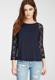 Floral Lace Raglan Top  Forever 21 - 2000078729 at Forever 21