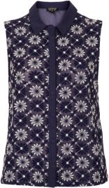 Floral Leaf Embroiderey Shell Top at Topshop