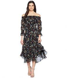Floral Off the Shoulder Midi Shift Dress by Tahari ASL at Zappos