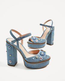 Floral Platform Sandals at Zara