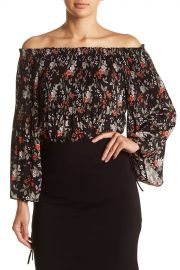 Floral Pleated Off-the-Shoulder Blouse at Nordstrom Rack