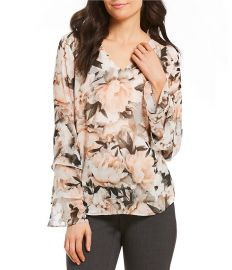 Floral Print Chiffon V-Neck Tiered Ruffle Sleeve Blouse by Calvin Klein at Lord & Taylor