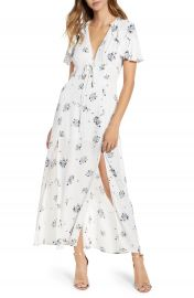 Floral Print Corset Waist Maxi Dress at Nordstrom