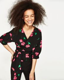 Floral Print Crossover Top at Zara