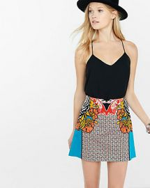 Floral Print High Waisted A-Line Skirt at Express