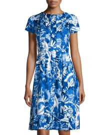 Floral-Print Pleated Short-Sleeve Dress at Last Call