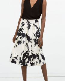 Floral Print Pleated Skirt at Zara