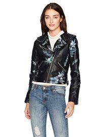 Floral Printed Vegan Leather Moto Jacket at Amazon