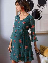 Floral Ruffled Maternity Dress by A Pea in the Pod at A Pea in the Pod