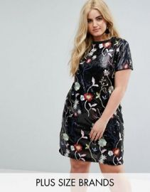 Floral Sequin Shift Dress by River Island at ASOS