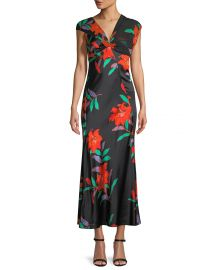 Floral Silk Asymmetric-Sleeve Knotted Dress at Last Call