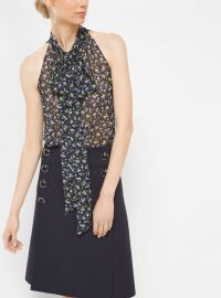 Floral Silk-Georgette Sleeveless Bow Blouse at Michael Kors