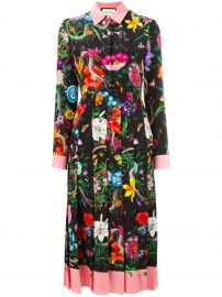 Floral Snake Print Silk Dress by Gucci at Farfetch