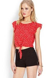 Floral Tie-Front Top   at Forever 21
