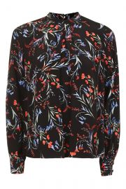 Floral Tuck Neck Top at Topshop