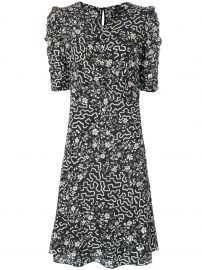 Floral and Geometric Print Ruched Dress by Isabel Marant at Farfetch