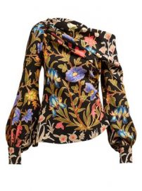 Floral and foliage-print asymmetric crepe blouse at Matches