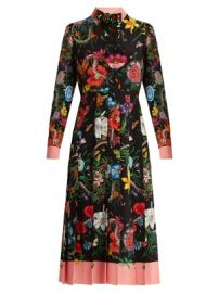 Floral and snake-print silk midi dress at Matches