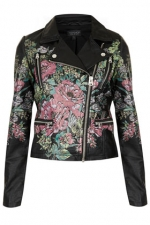 Floral biker jacket by Topshop at Topshop