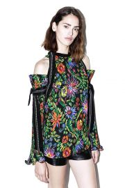 Floral cold shoulder top at Phillip Lim
