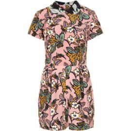Floral collar playsuit at Topshop
