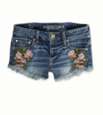 Floral embroidered denim shorts from AE at American Eagle