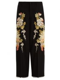 Floral-embroidered wool-crepe trousers at Matches